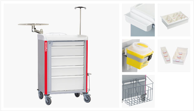 600 x 400 emergency trolleys with joint drawers
